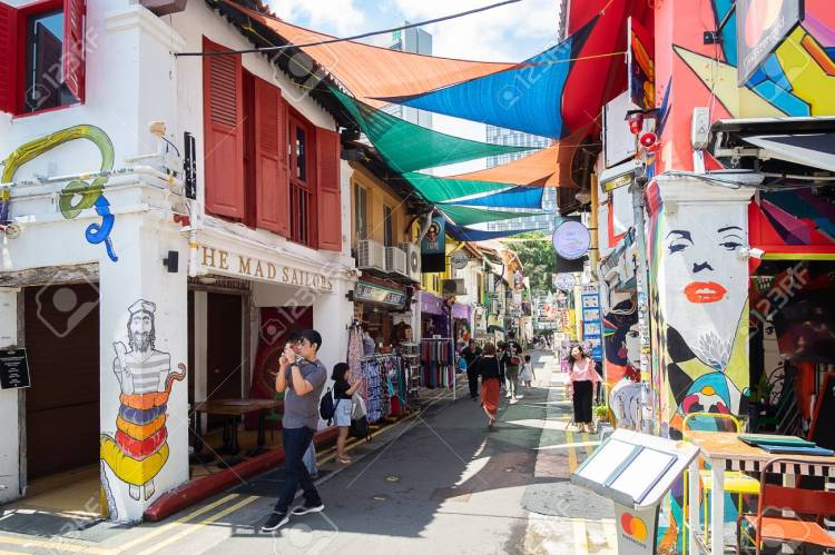 Haji Lane is in the Kampong Glam neighbourhood of Singapore. You